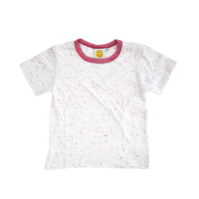 White Speckle Short Sleeve Crew Neck Tee tops Kumquat - 1
