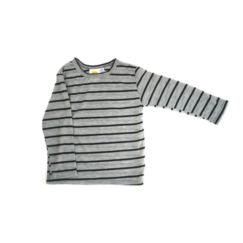 Grey Wide Stripe Long Sleeve Tee tops Kumquat