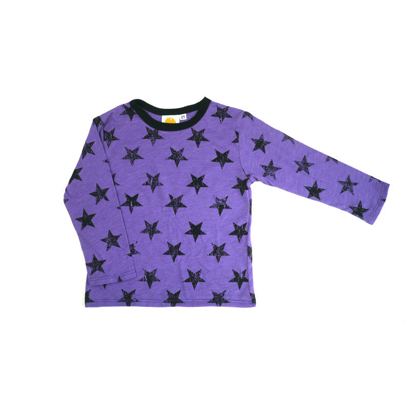 Purple Stars Long Sleeve Tee tops Kumquat