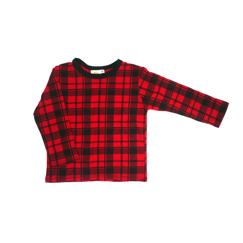 Red Plaid Long Sleeve Tee tops Kumquat