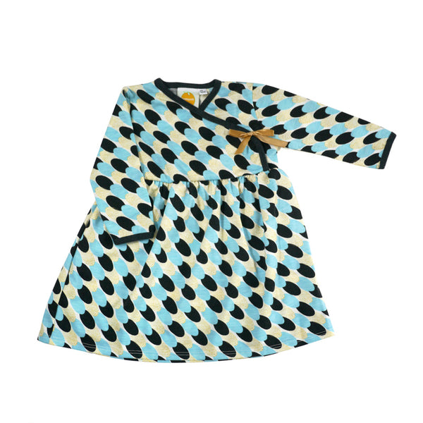 Blue Gold Thumbprint Long Sleeve Kimono Dress