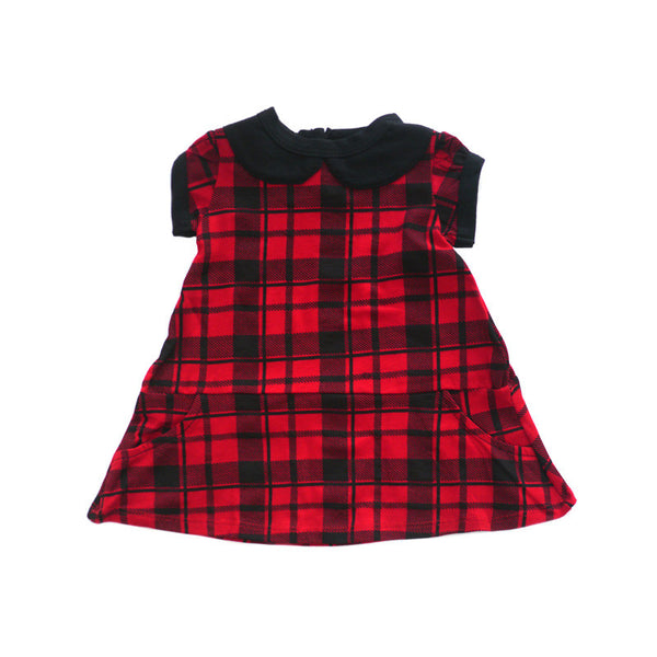 Red Plaid Peter Pan Collar Dress