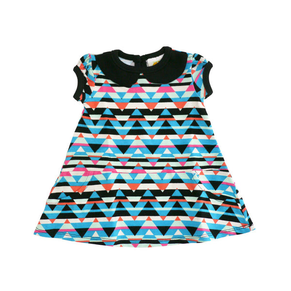 Triangle Stripes Peter Pan Collar Dress