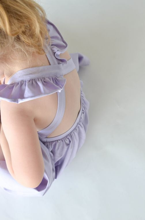 lavender ruffle twirl dress