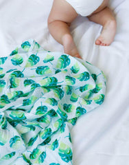 GOTS Certified Organic Cotton Muslin Swaddles - leaf