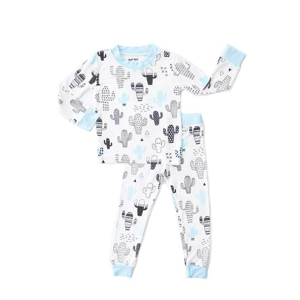 blue cactus 2 pc bamboo pajama set