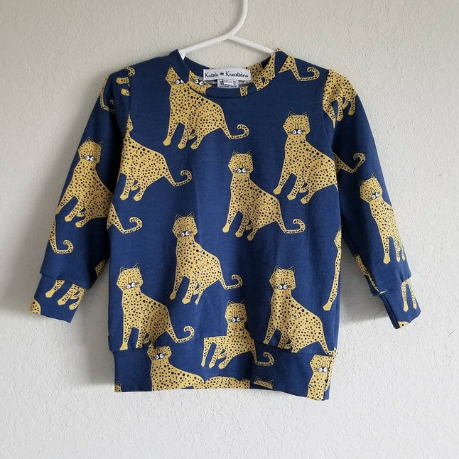 organic navy leopards sweatshirt