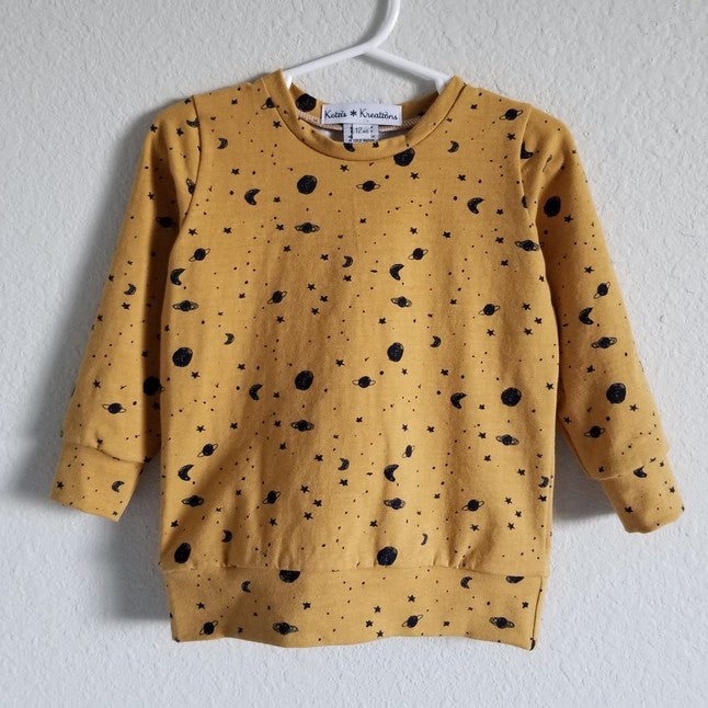 mustard space sweatshirt
