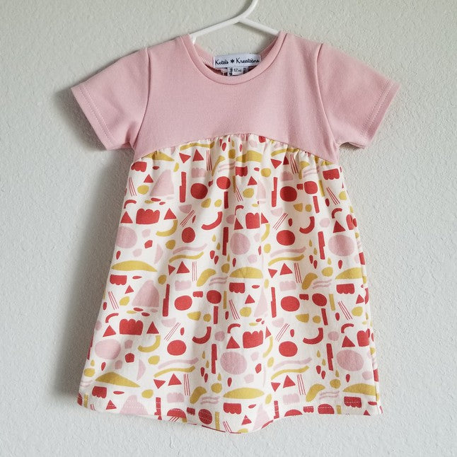 organic shapes pink dress