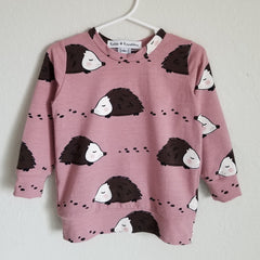 organic hedgehog sweatshirt- blush pink