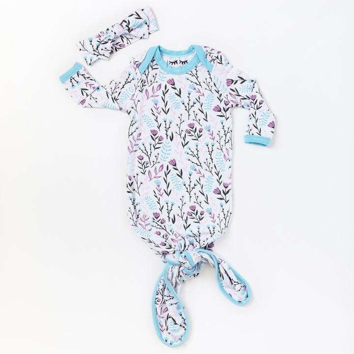 wildflower bamboo infant knotted gown