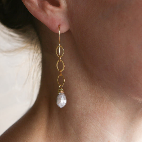 chocolate moonstone earrings