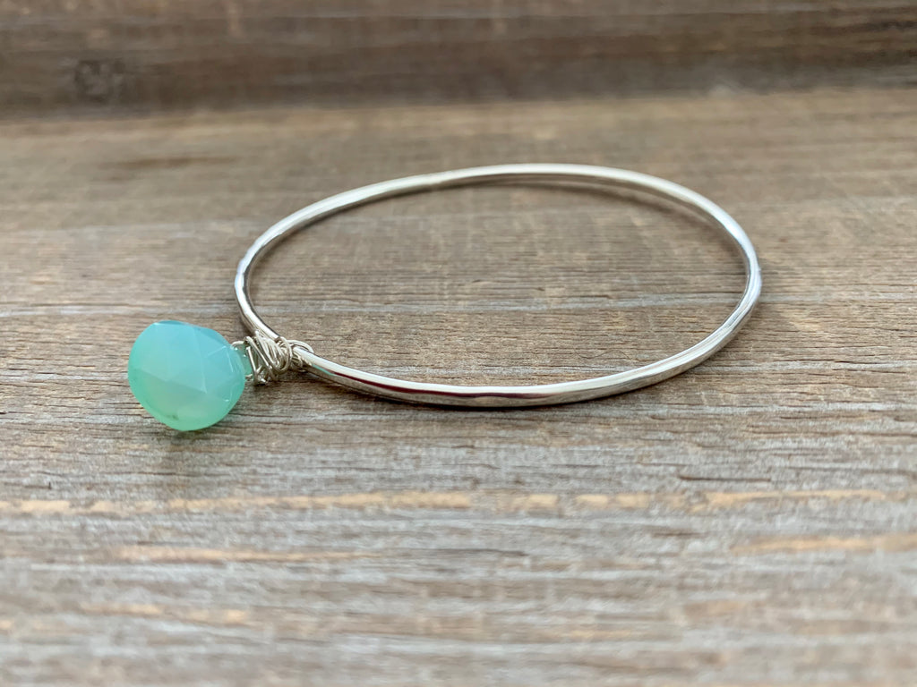 sterling silver bangle with charm