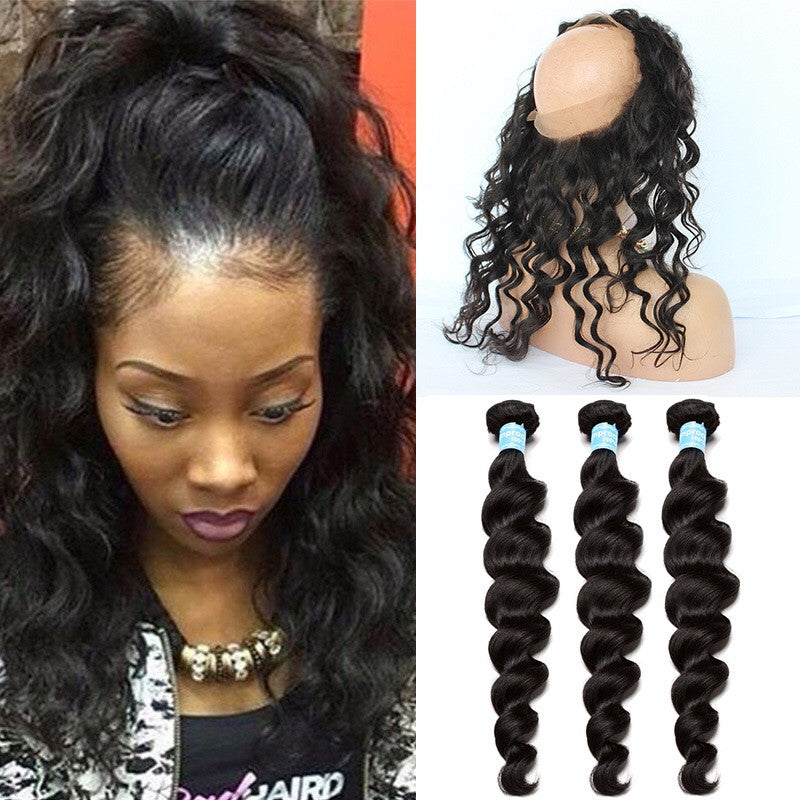 Straight Wave 360 Lace Frontal with Bundles