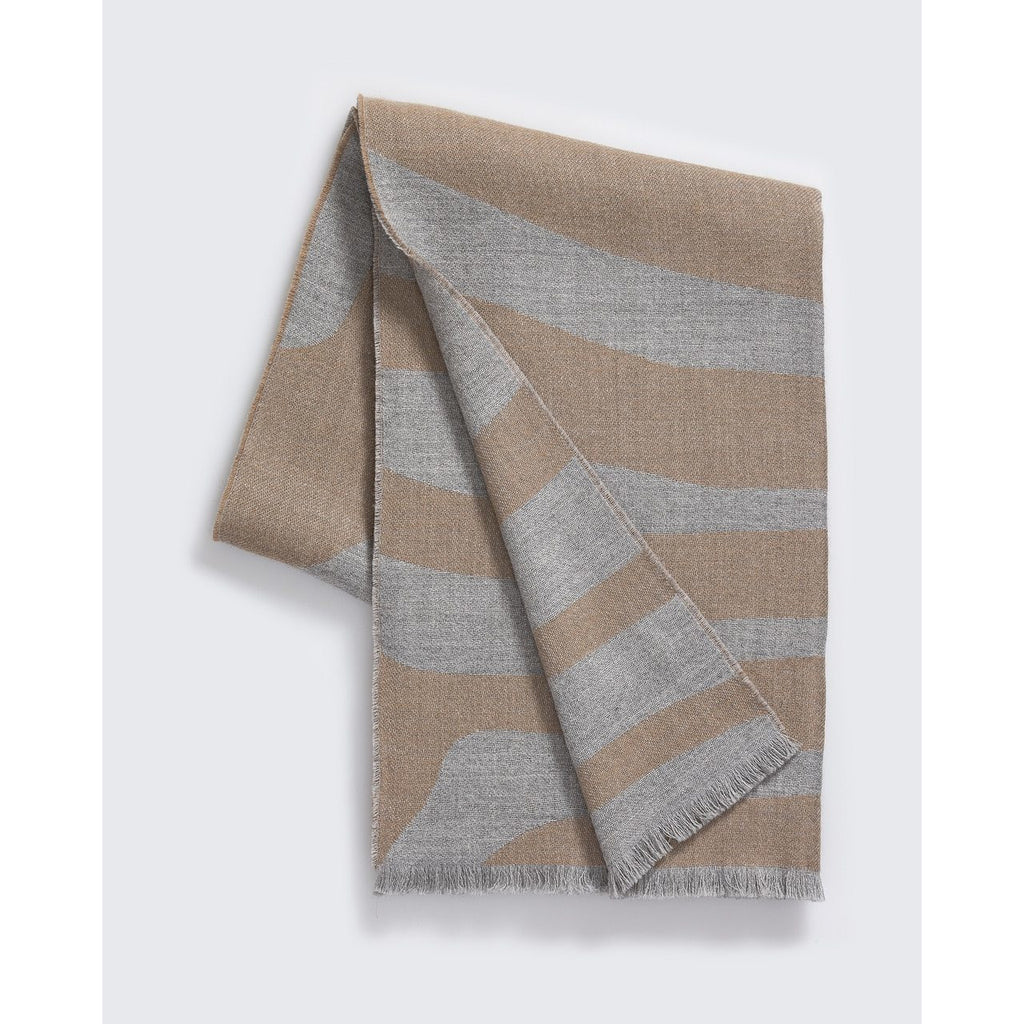 Zebra Throw in Camel and Light Grey