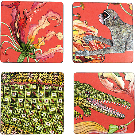 Flame Lilly Coral Coasters