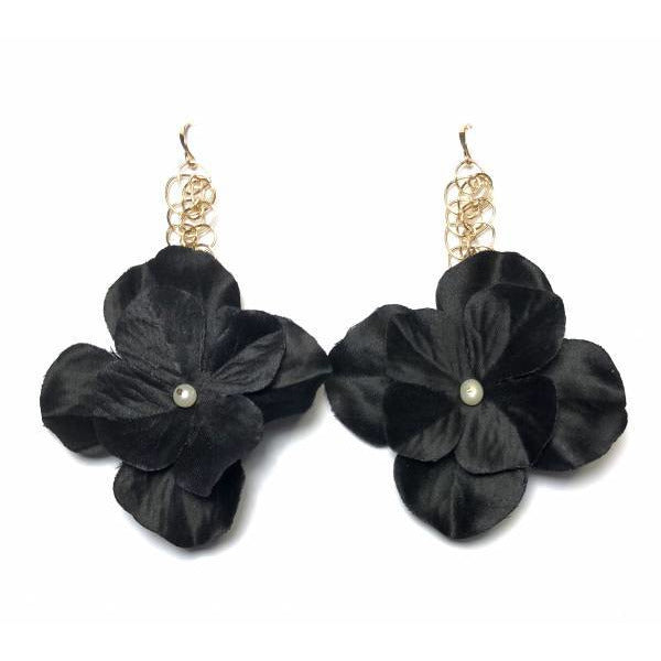 Elizabeth Black Floral Earrings