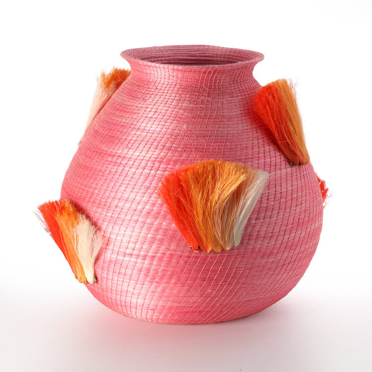 Fanned Out Lg Vase in Peony/Tangerine