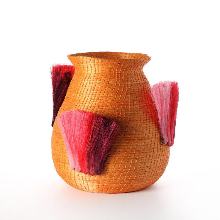 Fanned Out, Small Vase in Amber & Peony