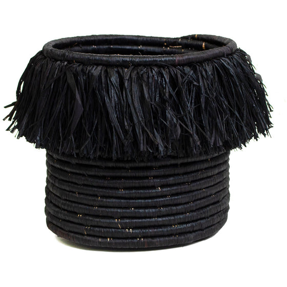Fringed Black Catch All Basket