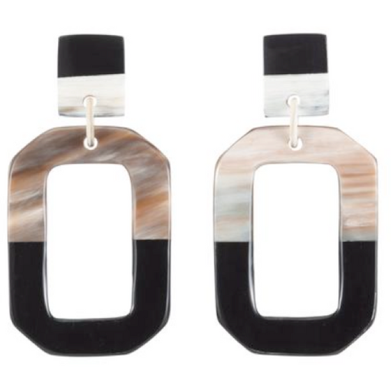 Horn Rectangle Drop Earrings