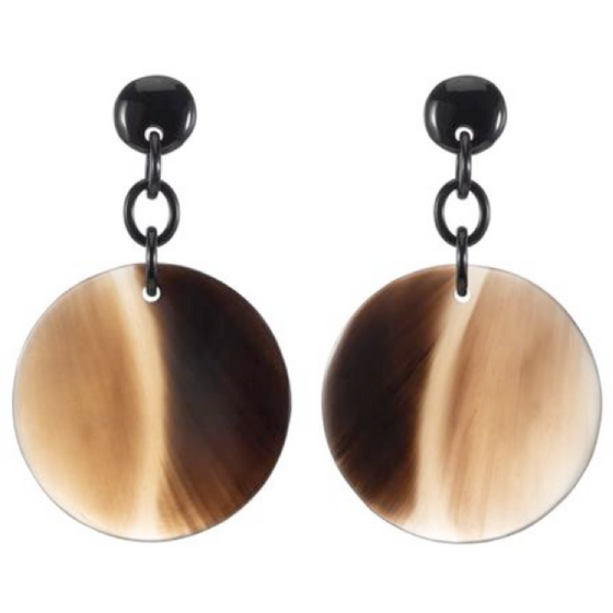 Honey Horn Disc Earrings