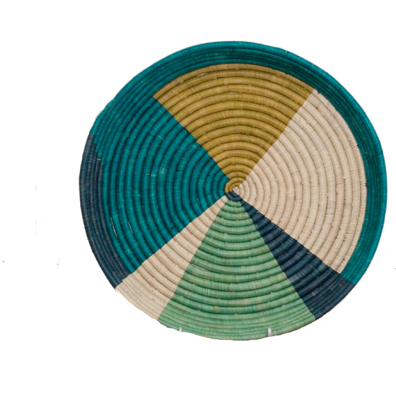 Color Block Raffia Tray
