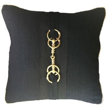 Horse Bit Pillow in Black