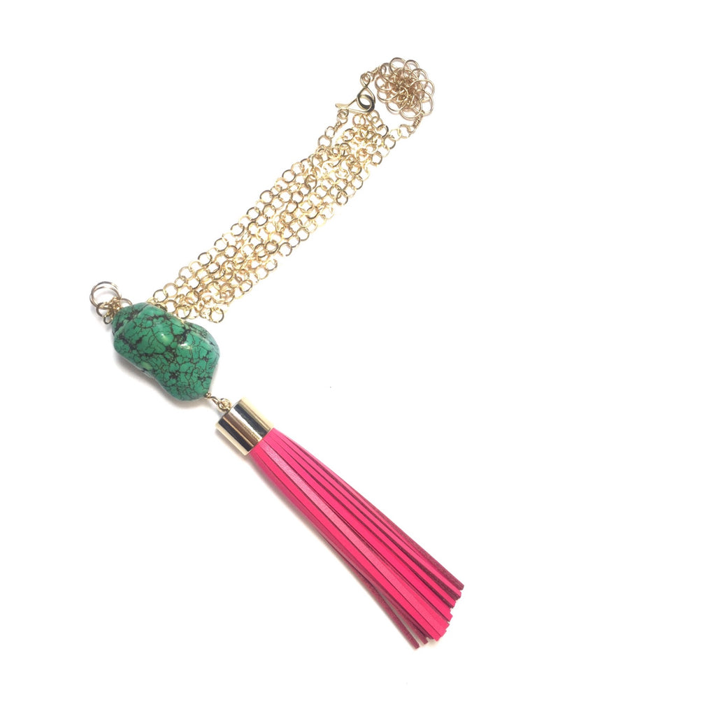 Pink Tassel w/ Turquoise Necklace