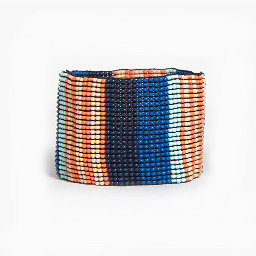 Lapis Coral Stripe Stretch Bracelet