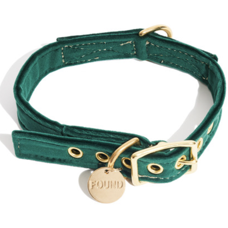 Emerald Green Washable Velvet Dog or Cat Collar