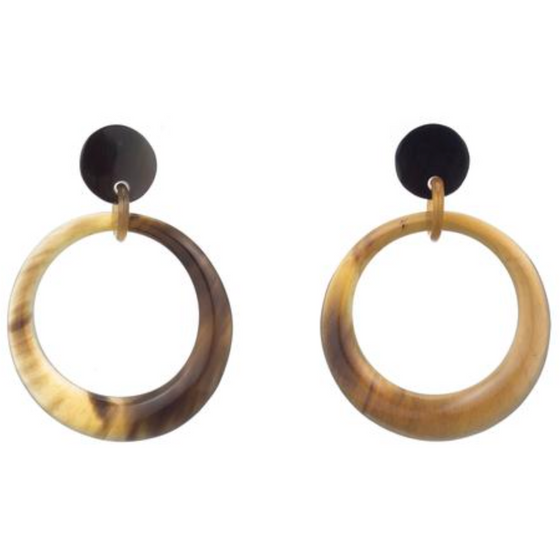Buffalo Horn Drop Hoop Earrings