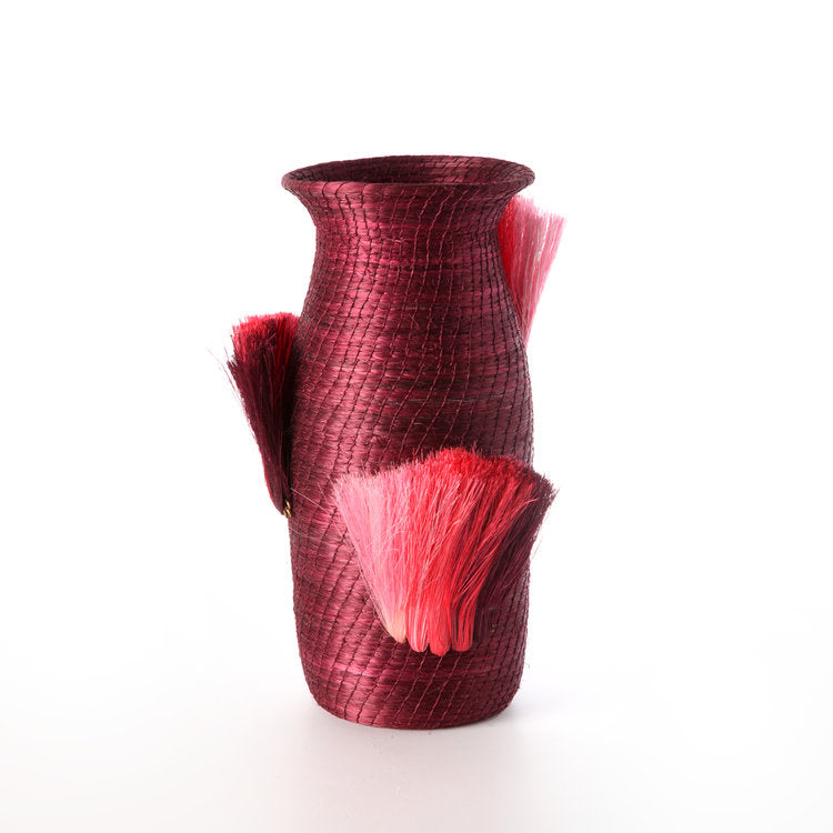 Fanned Out Small Tall Vase in Plum/Peony