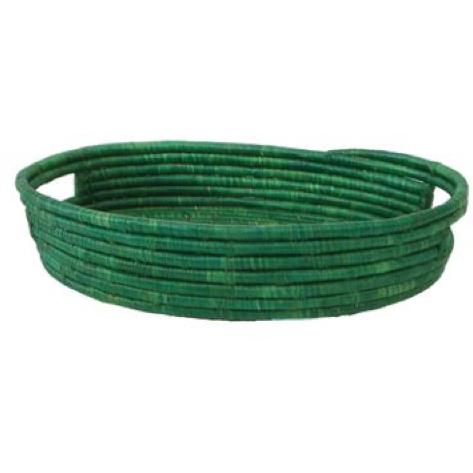 Raffia Evergreen Oval Tray