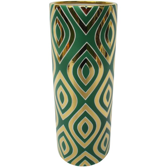 Green and Gold Leaf Cylinder Vase