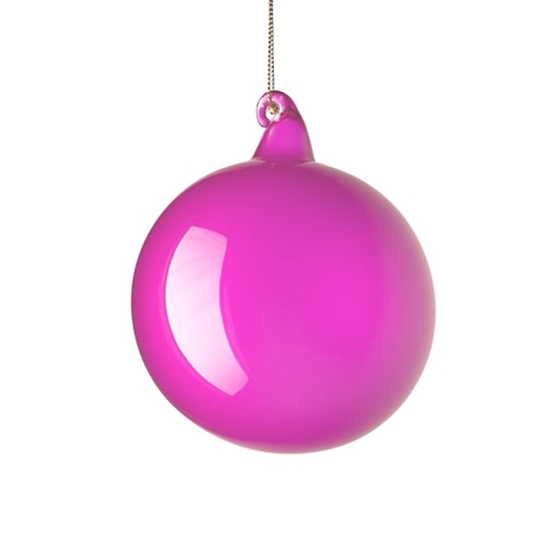 Medium Fuchsia Bubblegum Glass Ornament