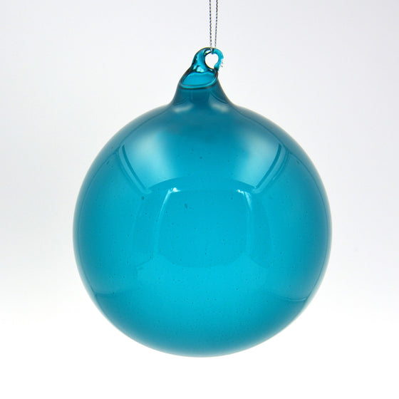 Medium Eucalyptus Blue Bubblegum Glass Ornament