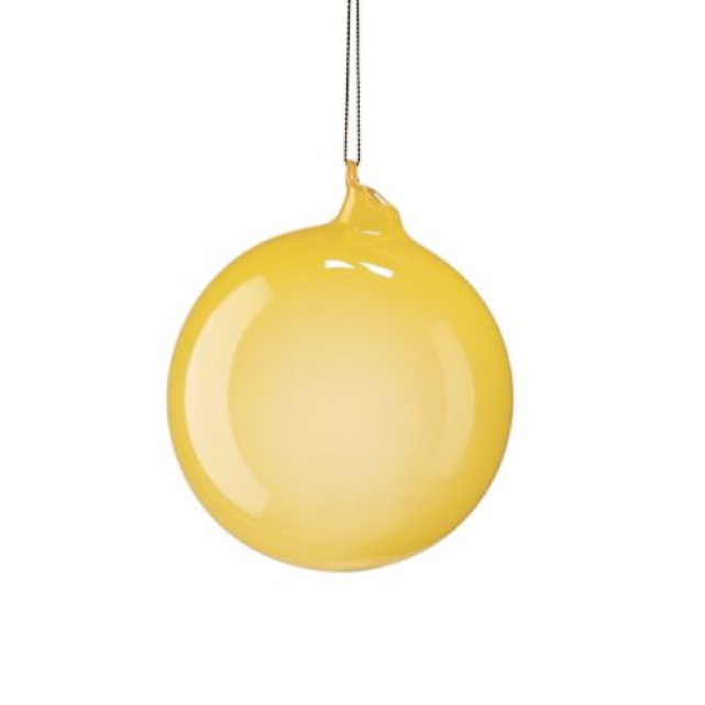 Medium Yellow Bubblegum Glass Ornament