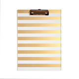 ACRYLIC CLIPBOARD GOLD STRIPES