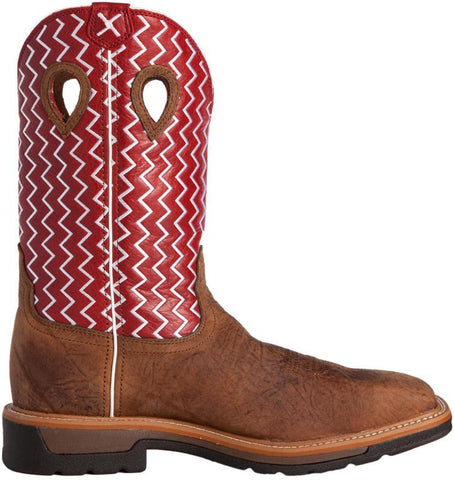 "Men's Twisted X Light Cowboy 12"" Distressed saddle / Cherry MLCS001"
