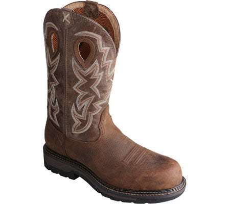"Men's Twisted X Light Cowboy Work Boot 12"" Oiled Distressed / Distressed MLCCW02"