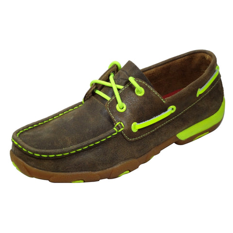 Ladies Twisted X Neon Yellow Slip On Driving Mocs WDM0010