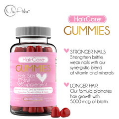 Hair Care Gummies - Hair Skin Nail Growth Vitamin Gummies with Biotin and Coconut Oil