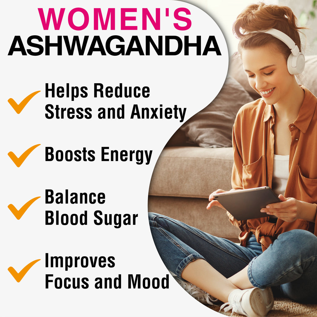 Infographic with benefits of taking ashwagandha: helps reduce stress and anxiety, boosts energy, balance blood sugar, improves focus and mood
