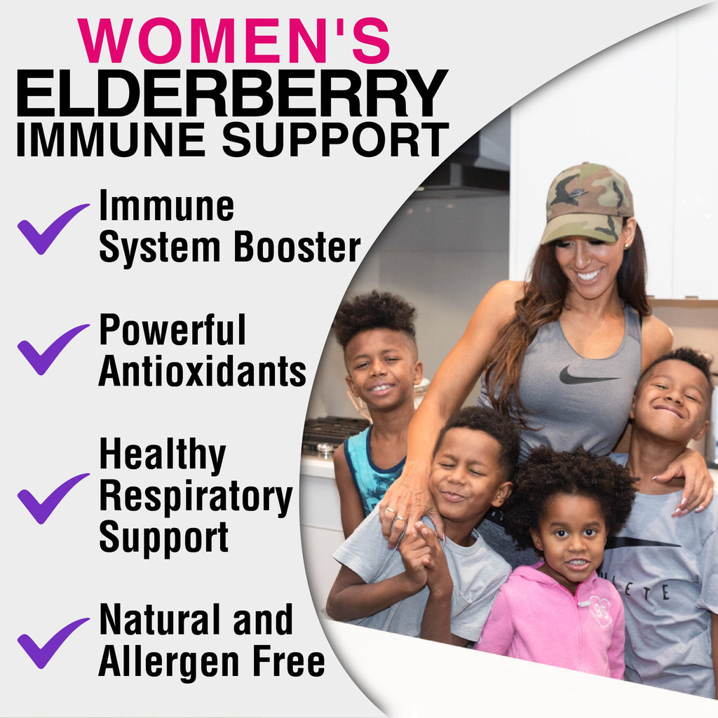 Benefits of sambucus elderberry immune support supplement by Mia Adora: immune system booster, powerful antioxidants, healthy respiratory support, natural and allergen free
