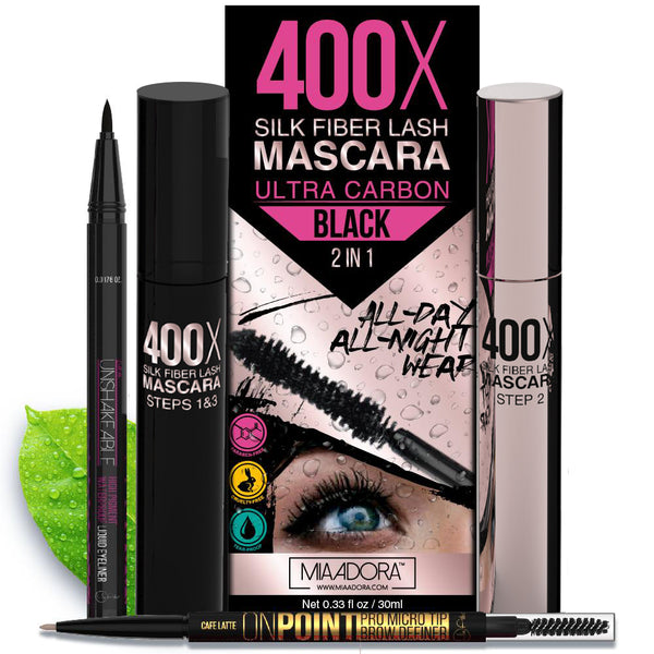 Limited Time - 3D Fiber Lash Mascara, Unshakeable Eyeliner & On Point Eyebrow Pencil