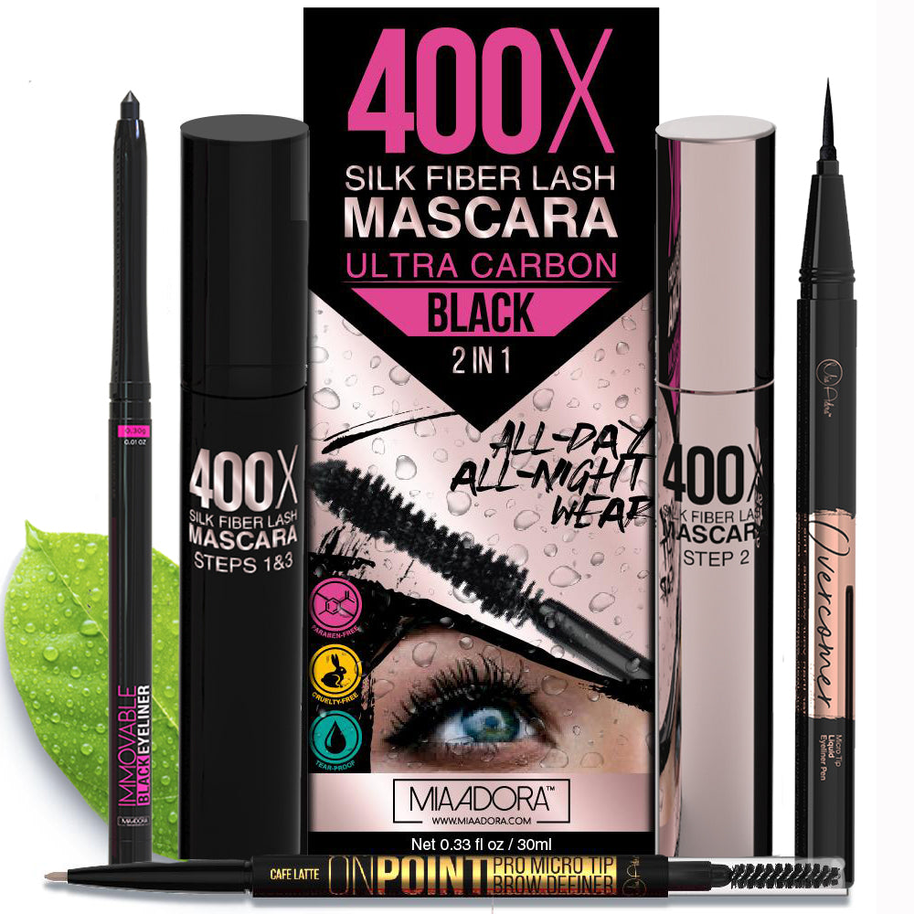 Eyes Essentials Pack - 400x Mascara, Immovable Eyeliner Pencil, Overcomer Gel Eyeliner and On Point Brow Definer