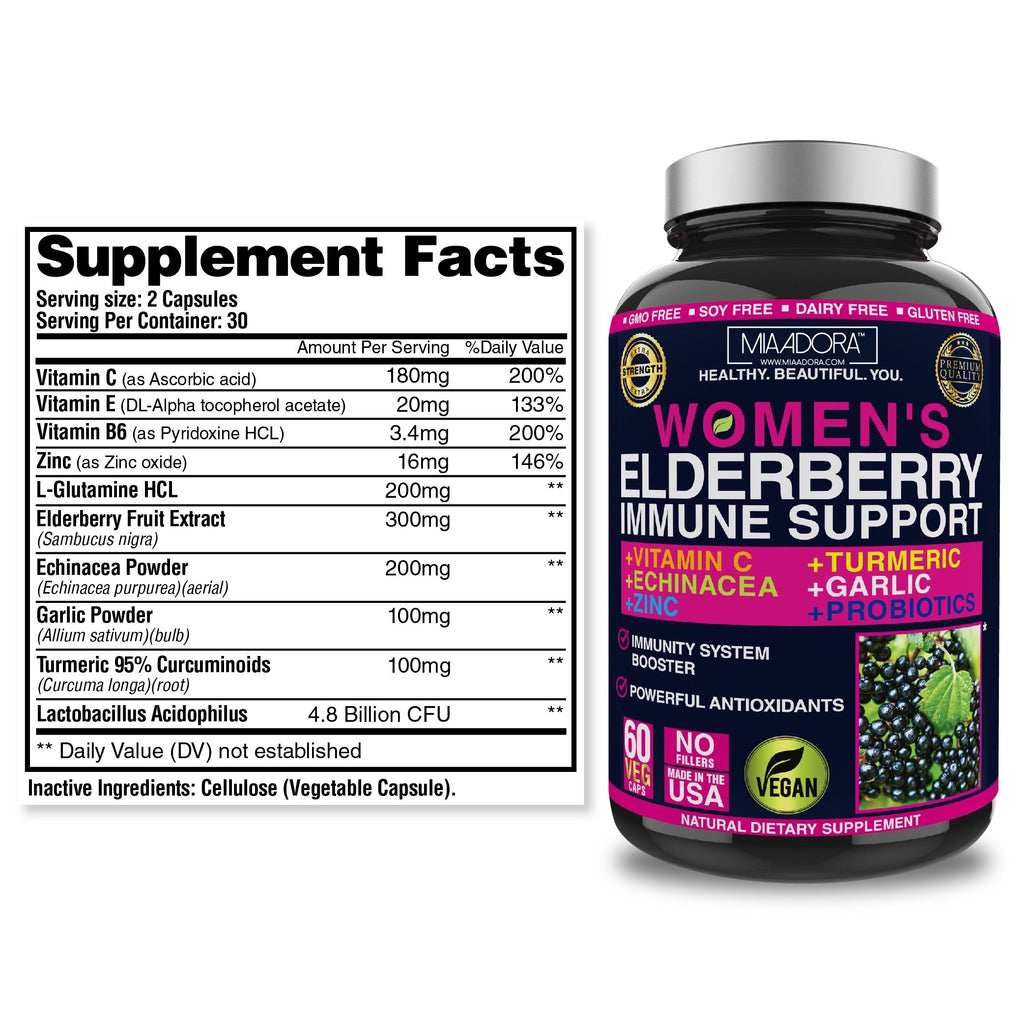 Elderberry immune system support supplement facts: serving size 2 capsules, serving per container 30