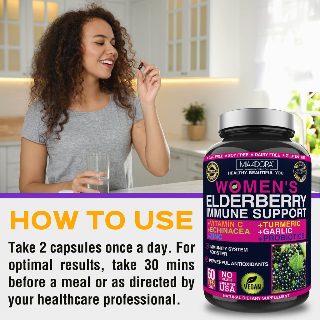 How to use Elderberry immune system support by Mia Adora: take 2 capsules once a day. For optimal results, take 30 mins before a meal or as directed by your healthcare professional