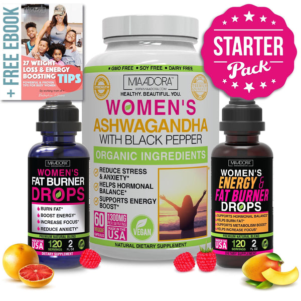 Starter Pack - Weight Loss, Energy and Stress Super Bundle [Ashwagandha Capsules, Fat Burner & Energy Drops]